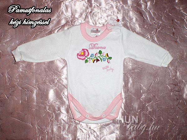 a98d6e8fac Body hosszú ujjas kislányoknak - kalocsai rózsaszín kézzel hímzett ...